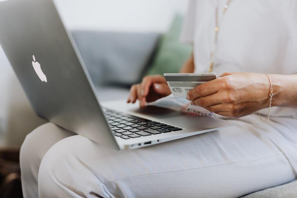 Woman spending money online